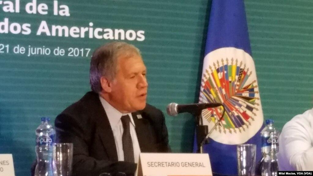 El secretario general de la OEA, Luis Almagro, inauguró la 47 Asamblea General en Cancún, México, el lunes, 19 de junio de 2017.
