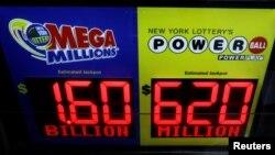 Bảng quảng cáo xổ số Mega Millions và Powerball.