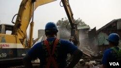 台北金华街被强制拆迁(美国之音杨晨拍摄)
