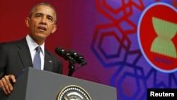 바락 오바마 미국 대통령이 지난해 11월 말레이시아에서 열린 아세안 졍상회의에서 발언하고 있다. (자료사진)