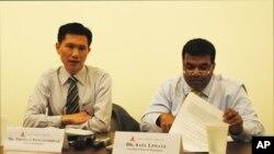 Thitinan Pongsudhirak, left, a visiting professor at the Johns Hopkins School of Advanced International Studies.