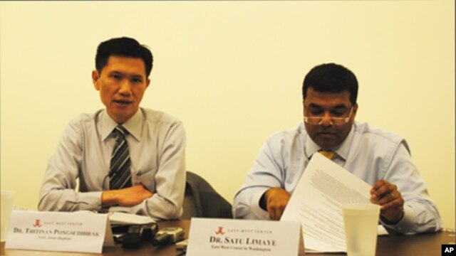 Thitinan Pongsudhirak, left, a visiting professor at the Johns Hopkins School of Advanced International Studies.