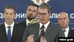 Predsednik Srbije Aleksandar Vučić na jednoj od ranijih konferencije za štampu u Beogradu (Foto: Video grab, sajt predsednika Republike)