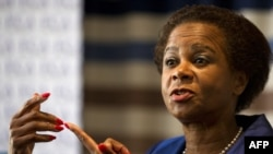 Respected businesswoman and anti-apartheid activist Mamphela Ramphele speaks to the media in Johannesburg, June 6, 2013.