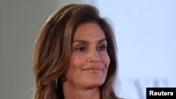 FILE - Cindy Crawford speaks at the Wall Street Journal Digital conference in Laguna Beach, California, U.S. Oct. 18, 2017.