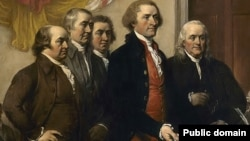 The Committee of Five present their work, the first draft of the Declaration of Independence, in June 1776, from John Trumbull's 1819 painting.