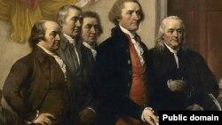 ხუთი ადამიანისგან შემდგარმა კომიტეტმა, 1776 წელს დამოუკიდებლობის დეკლარაციის პირველი გეგმა წარმოადგინა. ფერმწერ ჯონ ტრუმბულის ნამუშევარი.
