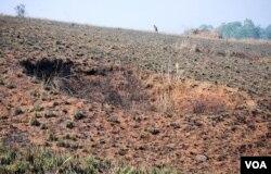 石缸平原上的一处大炸弹坑。(美国之音朱诺拍摄,2011年2月4日)