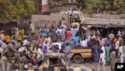 2015年1月27日尼日利亚士兵迈杜古里巡逻对付博科圣地。尼日利亚和乍得军人携手打击伊斯兰激进分子。