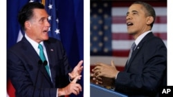 Republican presidential candidate, Gov. Mitt Romney, left, and President Barack Obama, right.