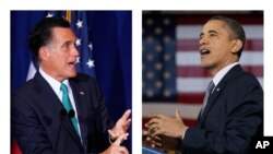 Republican presidential candidate, Gov. Mitt Romney, left, and President Barack Obama (D) right