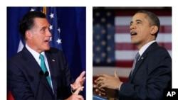 Ứng viên Tổng thống Hoa Kỳ đảng Cộng hòa Mitt Romney (trái) và Tổng thống Hoa Kỳ Barack Obama (phải)
