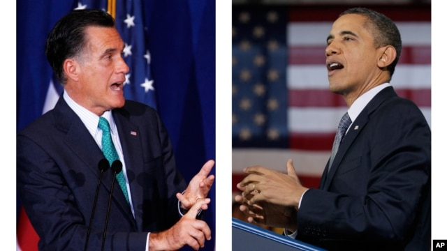 Republican presidential candidate, Gov. Mitt Romney, left, and President Barack Obama (Democrat), right