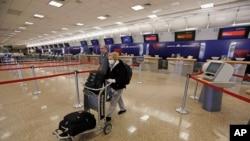 美國鹽湖城機場4月7日旅客稀少。