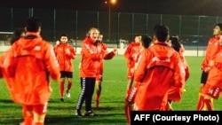 َملی پوشان افغان حین تمرین در قطر