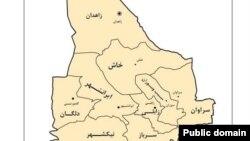 برشی از نقشه استان سیستان و بلوچستان