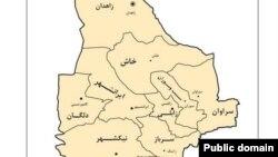 Map of Sistan Balochestan in iran نقشه استان سیستان و بلوچستان