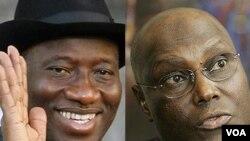 Presiden Goodluck Jonathan (kiri), dan Wapres Atiku Abubakar menjadi calon kuat terpilih sebagai capres Partai Demokratik Rakyat.
