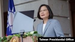 台灣總統蔡英文在台北發表第二任期就職講話。(2020年5月20日)