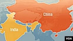 中印兩國位置圖