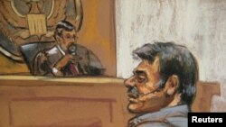 Manssor Arbabsiar is shown in this courtroom sketch during an appearance in a Manhattan courtroom in New York on October 11, 2011.