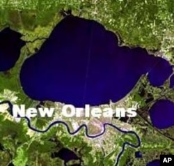 Landstat satellite image of New Orleans taken April 24, 2005