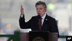 FILE - Colombia's President Juan Manuel Santos speaks in Bogota, Colombia, Nov. 6, 2016.