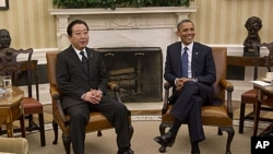 Japanese Prime Minister Yoshihiko Noda and President Obama at White House, Washington, D.C., April 30, 2012.
