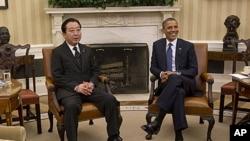 Japanese Prime Minister Yoshihiko Noda and President Obama at White House, Washington, D.C., April 30, 2012.