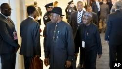 Nigerijski predsednik Gudlak Džonatan (centar) posle prijema za učesnike Američko-afričkog samita