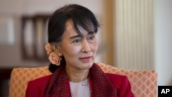 Burma's democracy leader Aung San Suu Kyi at the State Department in Washington, September 18, 2012.