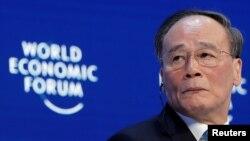 中國國家副主席王岐山2019年1月23日在達沃斯論壇上發言(路透社)