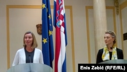 High Representative for Foreign and Security Policy of the European Union Federica Mogherini and Minister of Foreign Affairs of Croatia Marija Pejčinović Burić.