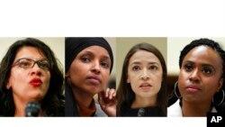 En esta imagen compuesta se muestran de izquierda a derecha fotografías de las representantes Rashida Tlaib, Ilhan Omar, Alexandria Ocasio-Cortez y de Ayannay de Ayanna Pressley.