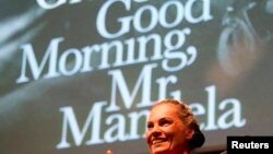 "FILE: Nelson Mandela's former private assistant Zelda la Grange speaks at the launch of her book ""Good Morning, Mr. Mandela"" in Johannesburg, June 19, 2014."