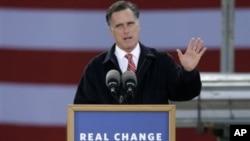 共和党总统候选人罗姆尼10月26日在爱奥华州竞选时谈到美国经济
