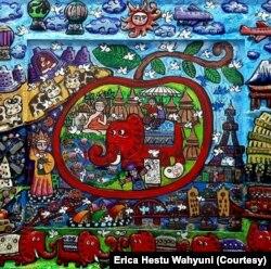 Lukisan menggambarkan Hari Suci umat Budha, Waisak. (Foto: Erica Hestu Wahyuni)