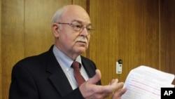 FILE - North Dakota Secretary of State Al Jaeger speaks at a news conference in Bismarck, N.D.