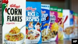 FILE - This Feb. 1, 2012, file photo, shows Kellogg's cereal products, in Orlando, Fla.