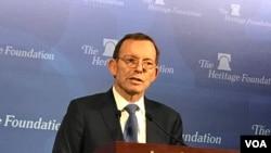 前澳大利亞總理艾博特1月21日在傳統基金會發表演講。(美國之音莉雅拍攝)