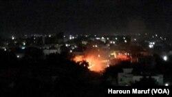 Explosion en plein mileu de Mogadiscion, Somalie, 14 juin 2017. (VAO/ Haroun MAruf)