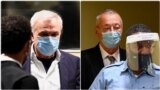Combo photograph Jovica Stanisic and Franko Simatovic in the courtroom ahead of verdict announcement