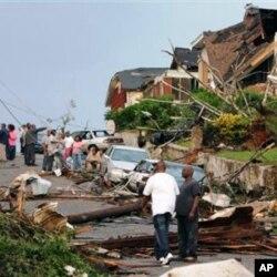 Des sinistrés dans l'Etat de l'Alabama