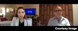 VOA Thai interview with Phuket Hotels Association's President (Photo credit: Janine Phakdeetham)