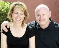 Congresswoman Gabrielle Giffords and Mark Kelly in April of last year