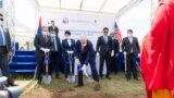 U.S. Ambassador Michael Klecheski is seen at the groundbreaking for a water purification system to ensure Ulaanbaatar has enough water to support Mongolia's growing population, industries, and needs, August 20, 2021.