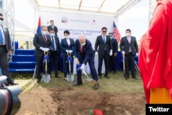 U.S. Ambassador Michael Klecheski is seen at the groundbreaking for a water purification system to ensure Ulaanbaatar has enough water to support Mongolia's growing population, industries, and needs, Aug. 20, 2021. (Twitter @USAmbMongolia)