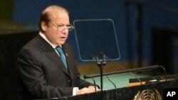 Thủ tướng Pakistan Nawaz Sharif phát biểu tại phiên họp của Đại hội đồng Liên Hiệp Quốc lần thứ 71 tại trụ sở chính ở New York, ngày 21 tháng 9 năm 2016.