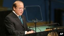 ນາຍົກລັດຖະມົນຕີປາກິສຖານ ທ່ານ Nawaz Sharif ກ່າວທີ່ກອງປະຊຸມສະມັດຊາໃຫຍ່ ສະຫະປະຊາຊາດ ວັນທີ 21 ກັນຍາ 2016.