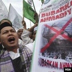 Protes menuntut pelarangan Ahmadiyah di Jakarta (1/3).